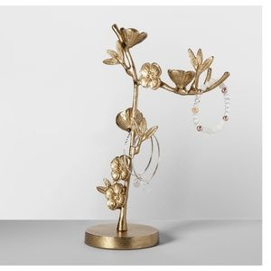 Gold Cherry Blossom Flower Jewelry Holder Stand